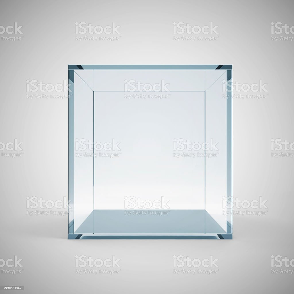 Empty Glass Cube on gradient background stock photo