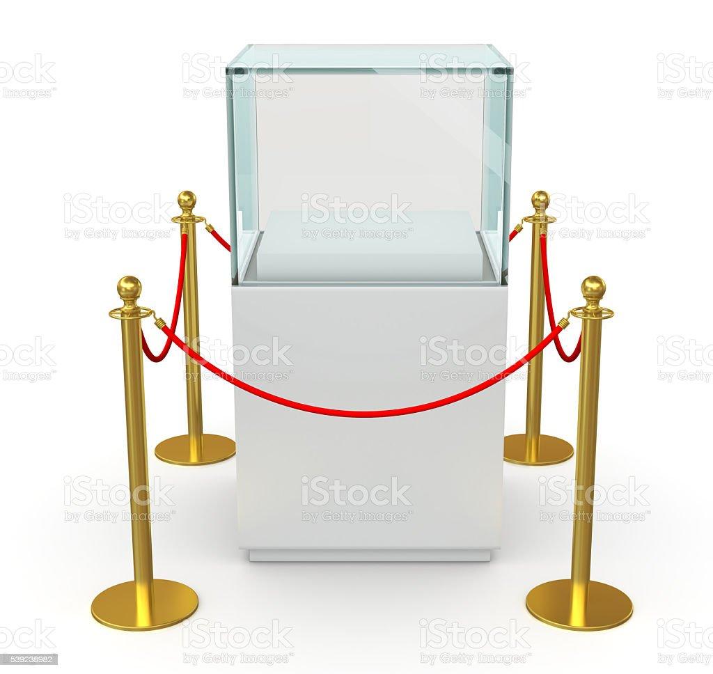 Cubo de vidrio vacío con barrera de cuerda foto de stock libre de derechos