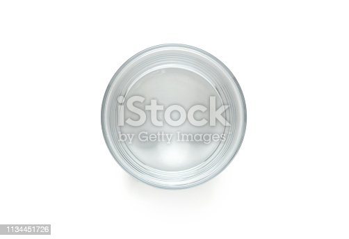 High view of an empty glass with white background
