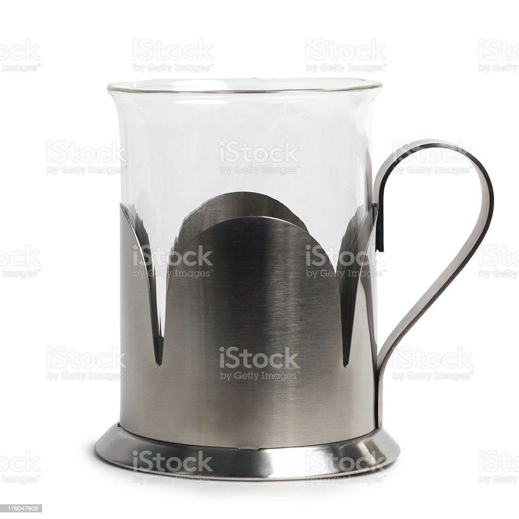 empty glass cup-holder in an iron stand isolated royalty-free stock photo