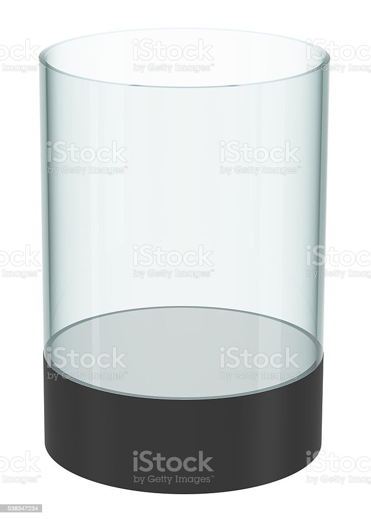 Empty glass cylinder for exhibit stock photo