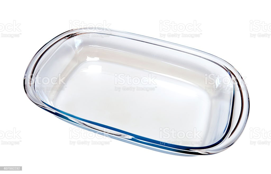 Empty glass dish for cooking with oven stock photo