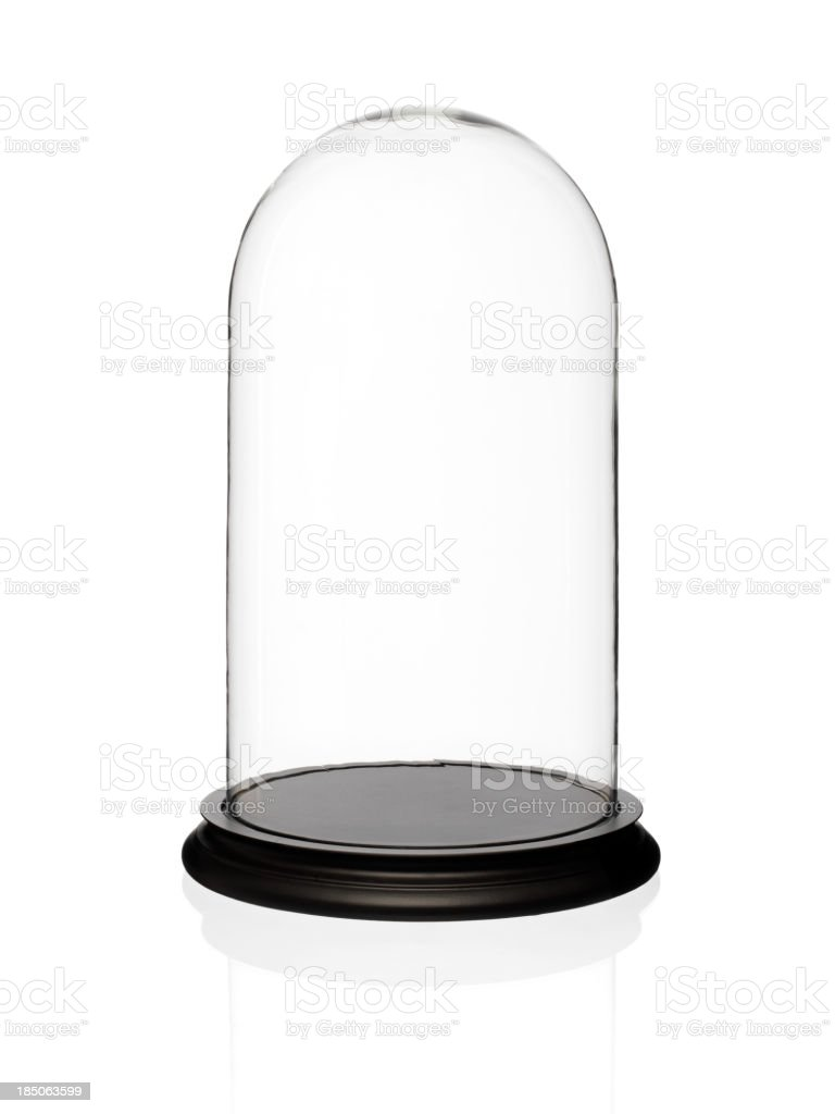 Empty glass display dome stock photo