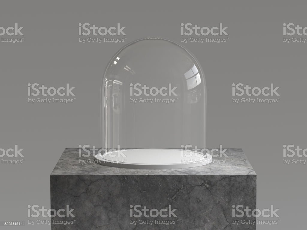 Empty glass dome with white tray on concrete podium. 3D rendering. stock photo