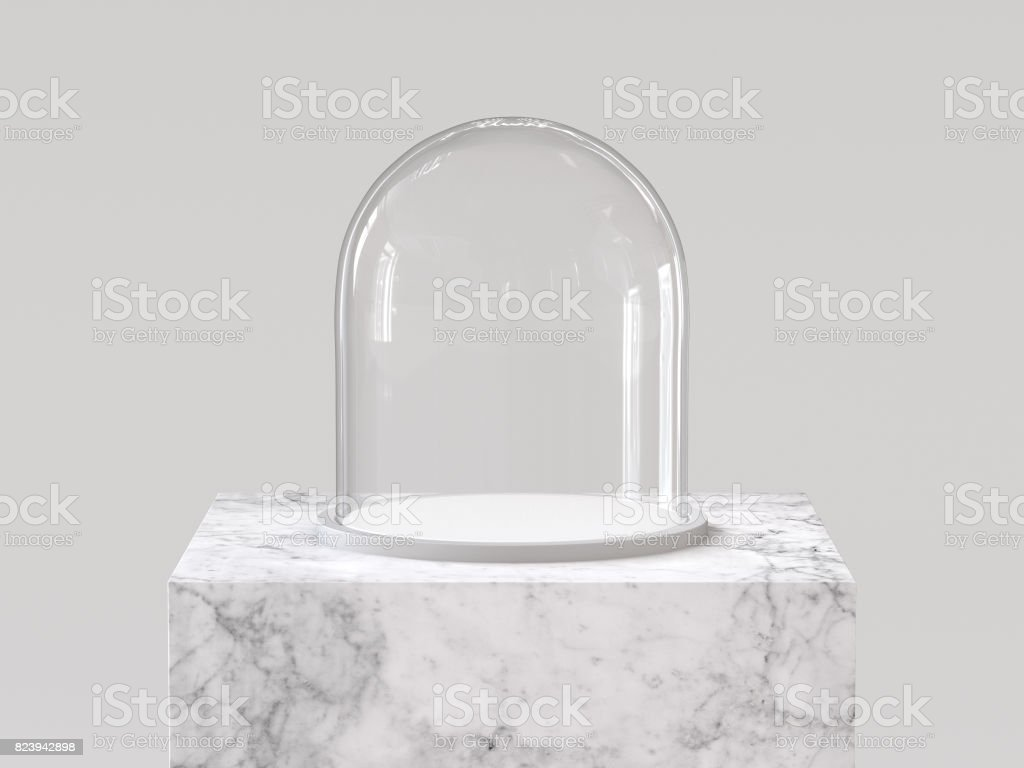 Empty glass dome with white tray on white marble podium. 3D rendering.