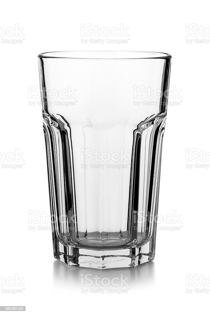 Empty Glass isolated on a white background with reflection stock photo