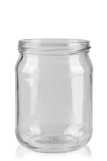 empty glass jar for conservation, isolated on white background stock photo