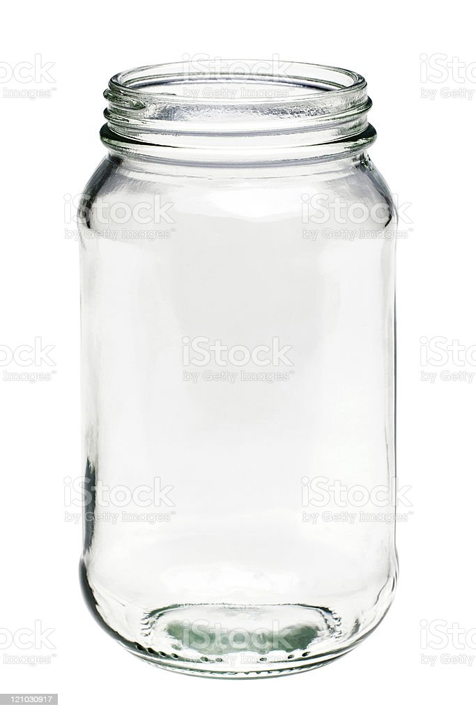 Empty glass jar isolated on a white background stock photo