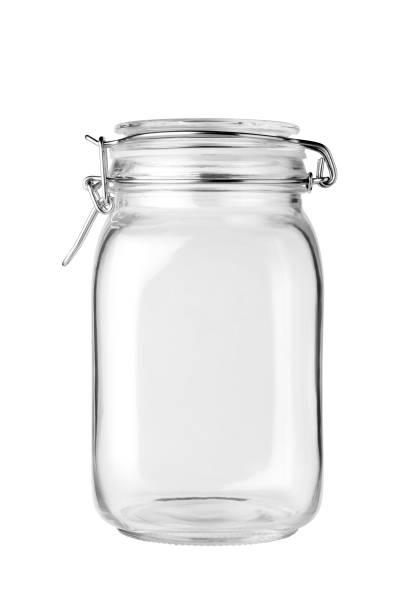 leere glas jar - geschlossene küchen stock-fotos und bilder