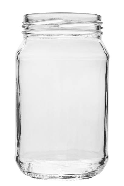 Empty glass jar without a lid. isolated on a white background. stock photo