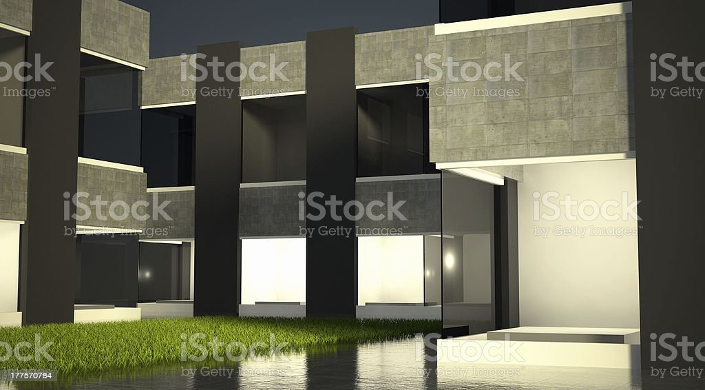 Empty glass showcase, exhibition space on street royalty-free stock photo