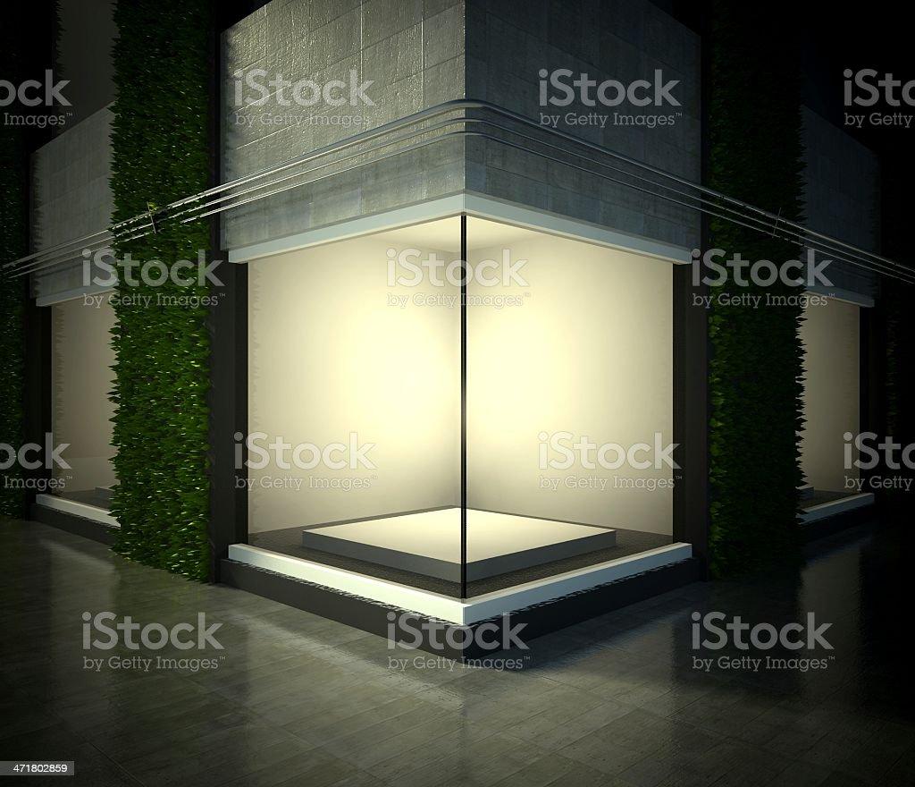 Empty glass showcase, exhibition space on street stock photo