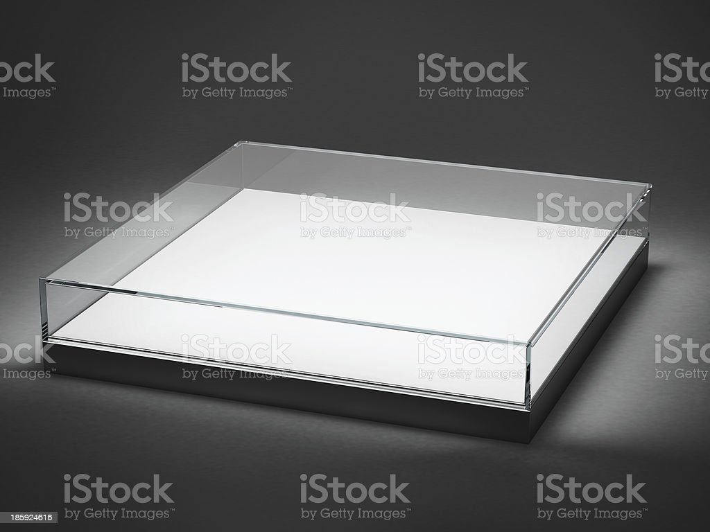 Empty glass showcase for exhibit isolated on black royalty-free stock photo
