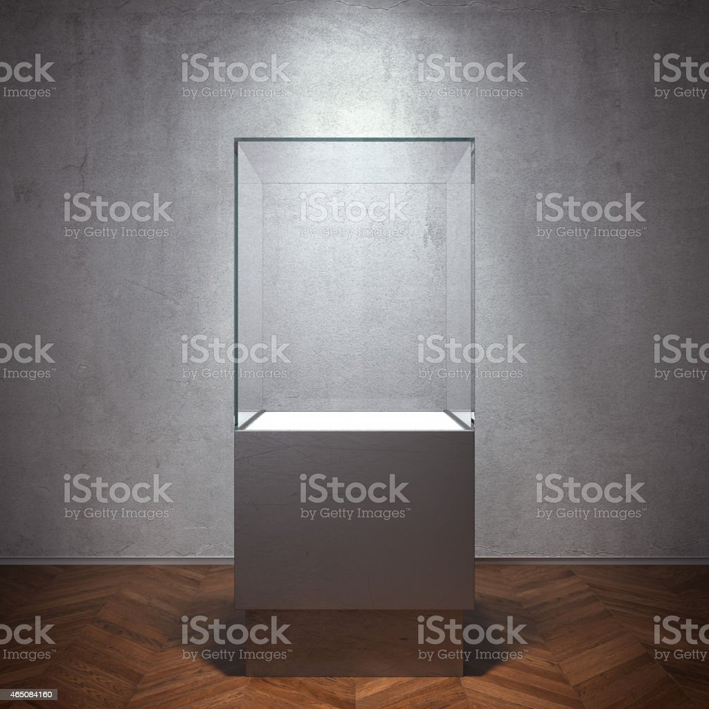Empty glass showcase for exhibit stock photo