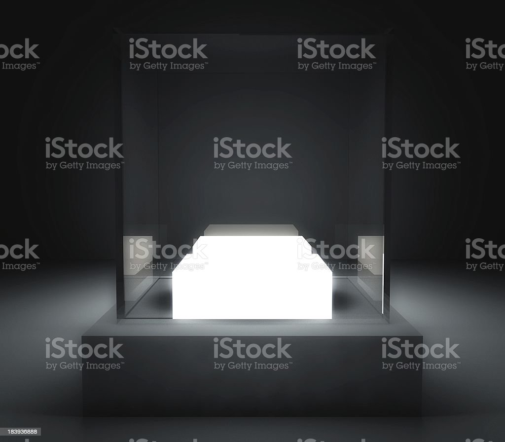 A 3D empty glass showcase in a black room stock photo
