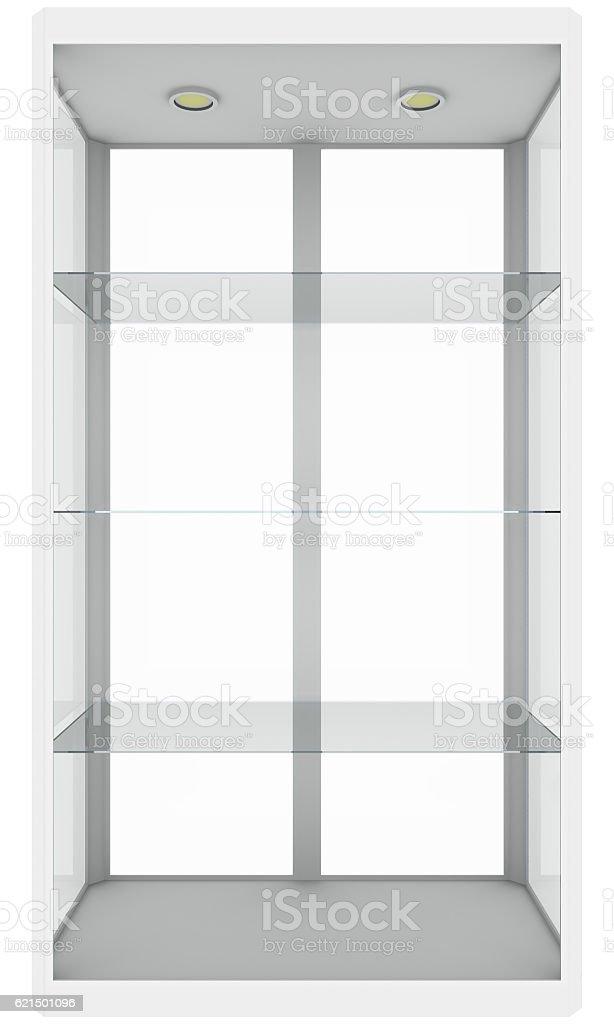 Empty glass showcase. Isolated on white Lizenzfreies stock-foto