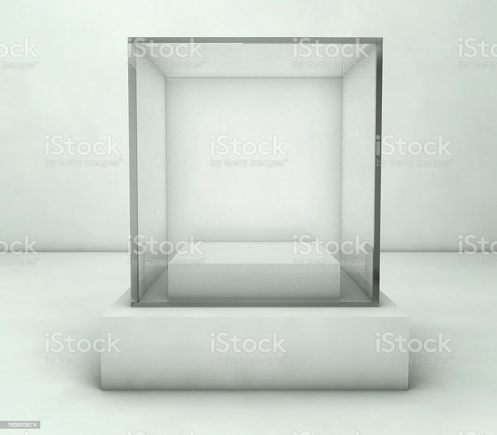 Empty glass showcase of 3D exhibition space on white stock photo