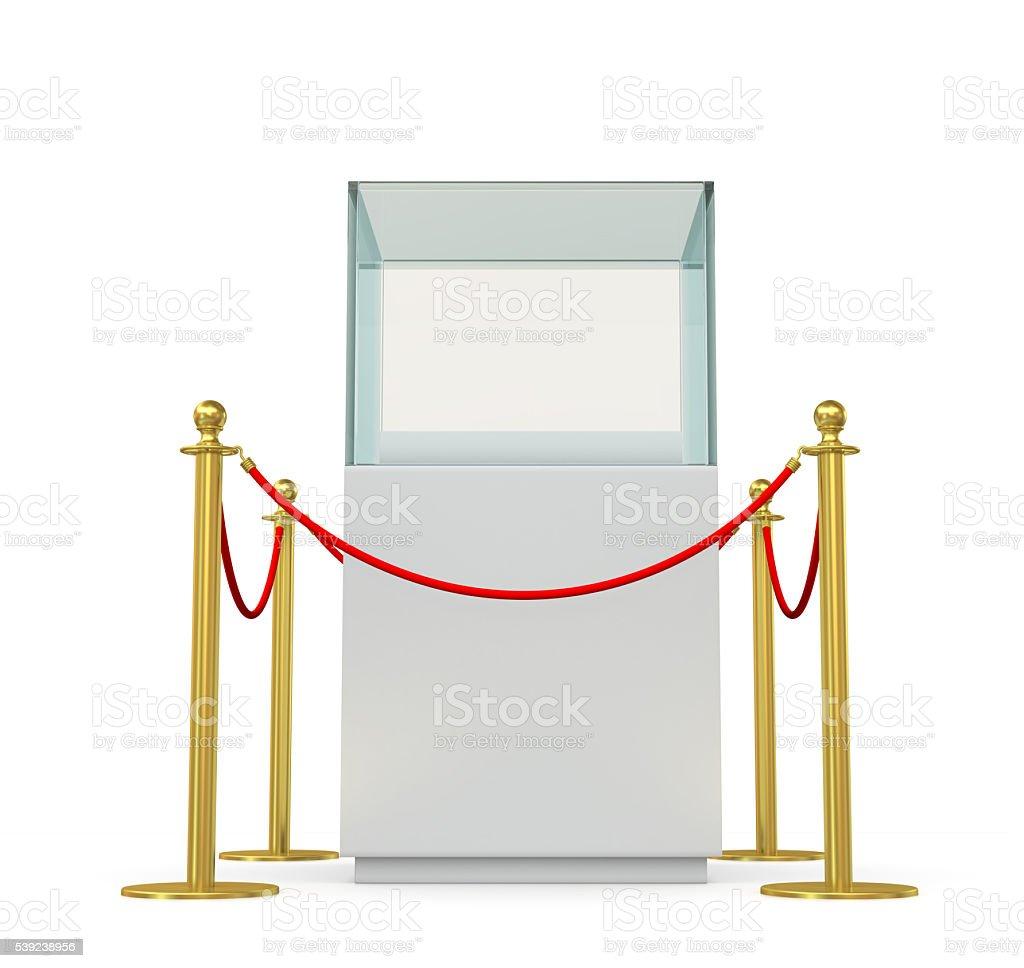 Exhibición de vidrio vacío con barrera de cuerda foto de stock libre de derechos