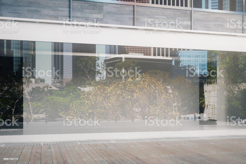 Empty glass storefront closeup stock photo