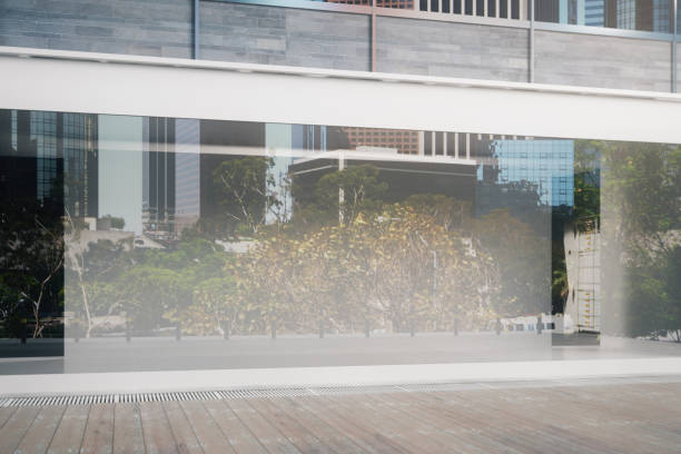 empty glass storefront closeup - store window stock pictures, royalty-free photos & images