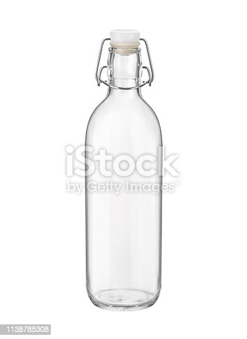 Empty glass swing top bottle isolated on white background. Side view.