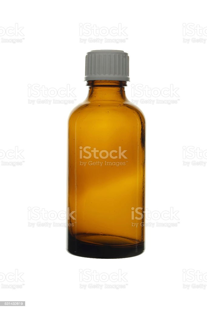 Empty glass vial brown isolated on white background. stock photo