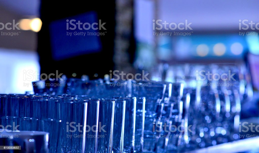 Empty glasses in a cafe stock photo