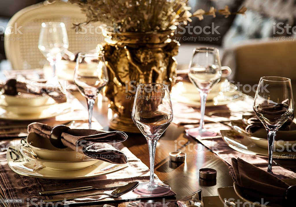 Empty glasses in restaurant stock photo