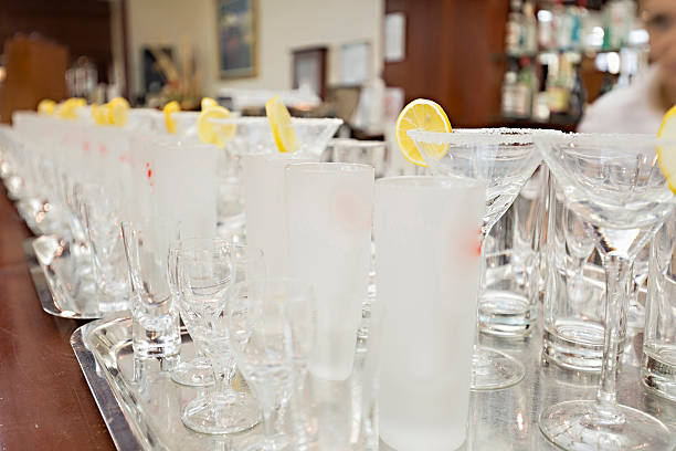 Empty glasses in restaurant ready to served with liquid stock photo