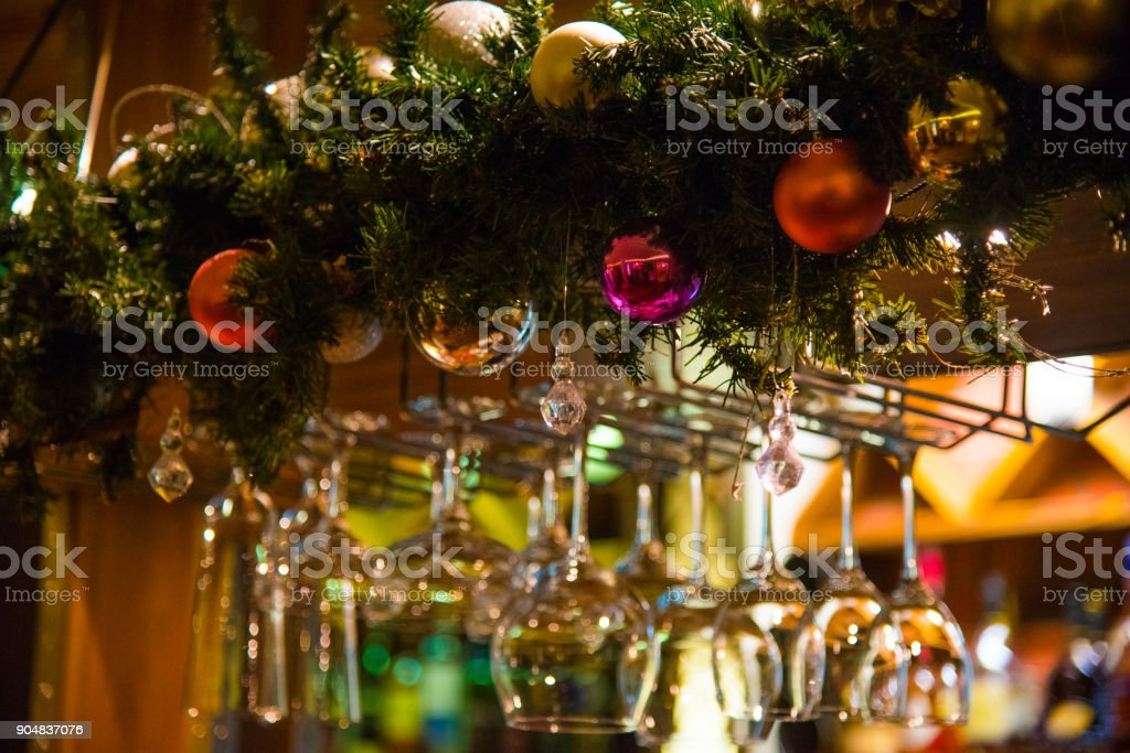 Empty glasses on table in club or restaurant, closeup