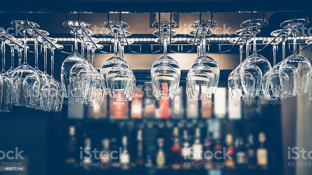 Empty glasses stock photo