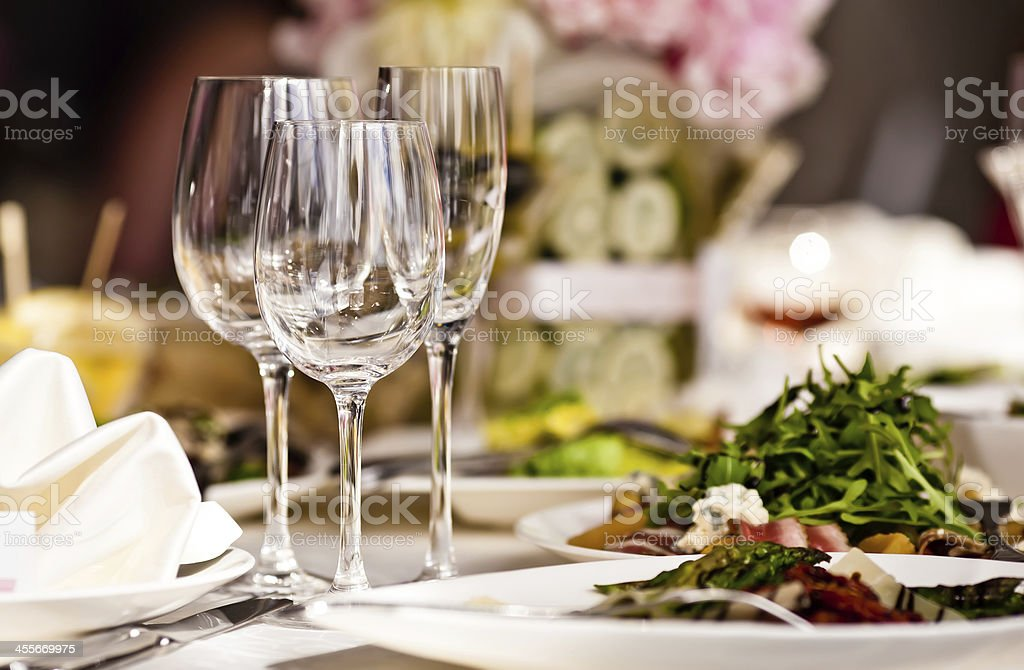 Empty glasses set in restaurant - Royalty-free Banquet Stock Photo