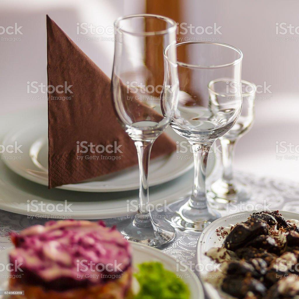 Empty glasses set in restaurant stock photo