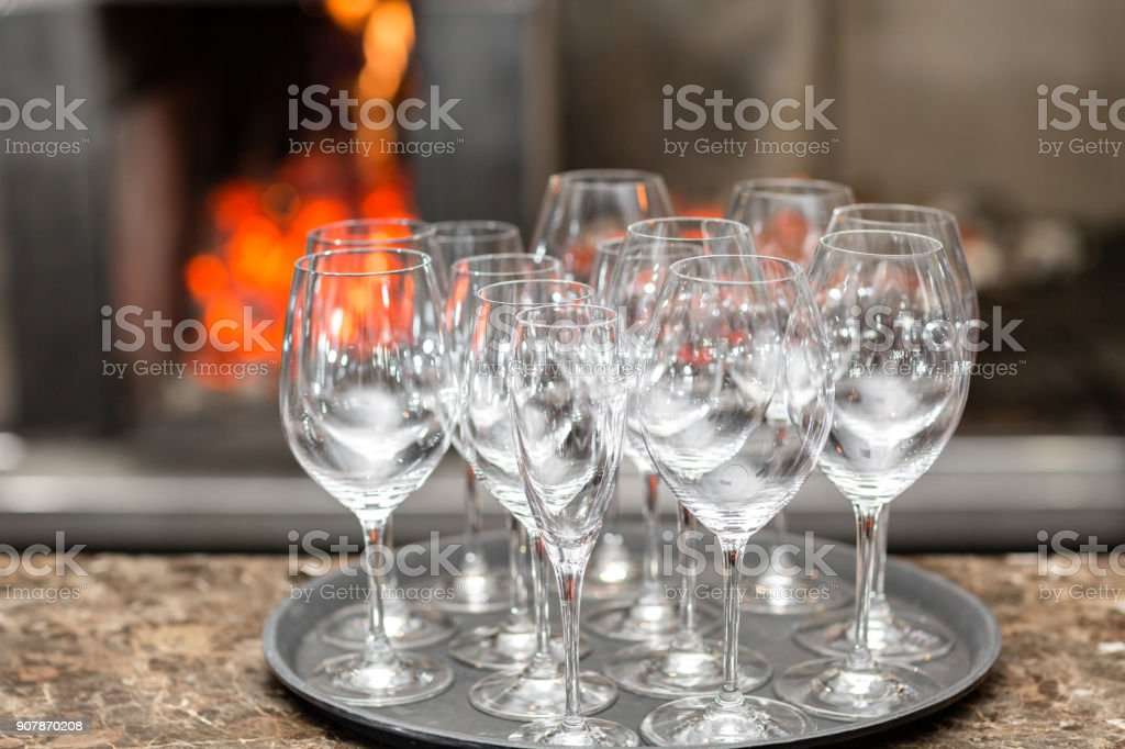 Empty Glasses Wine In Restaurant Glass Water A Tray Of Wine Glasses