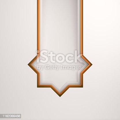 istock Empty gold arabic paper cut window on white background. Design creative concept of islamic celebration day ramadan kareem or eid al fitr adha. 1162066456