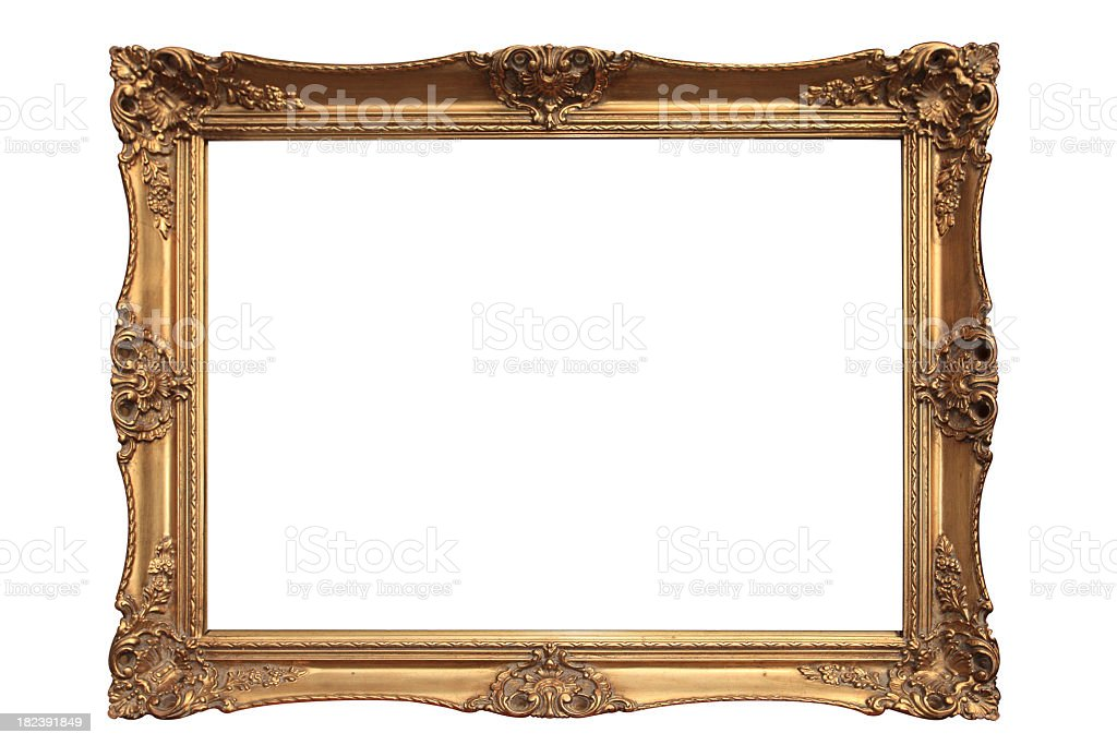 Empty gold ornate picture frame with white background