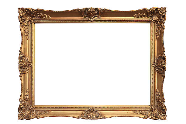empty gold ornate picture frame with white background - museum stockfoto's en -beelden