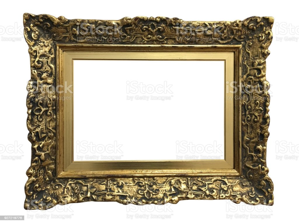 a369df6cff09 Empty Gold Ornate Picture Frame With White Background Stock Photo ...