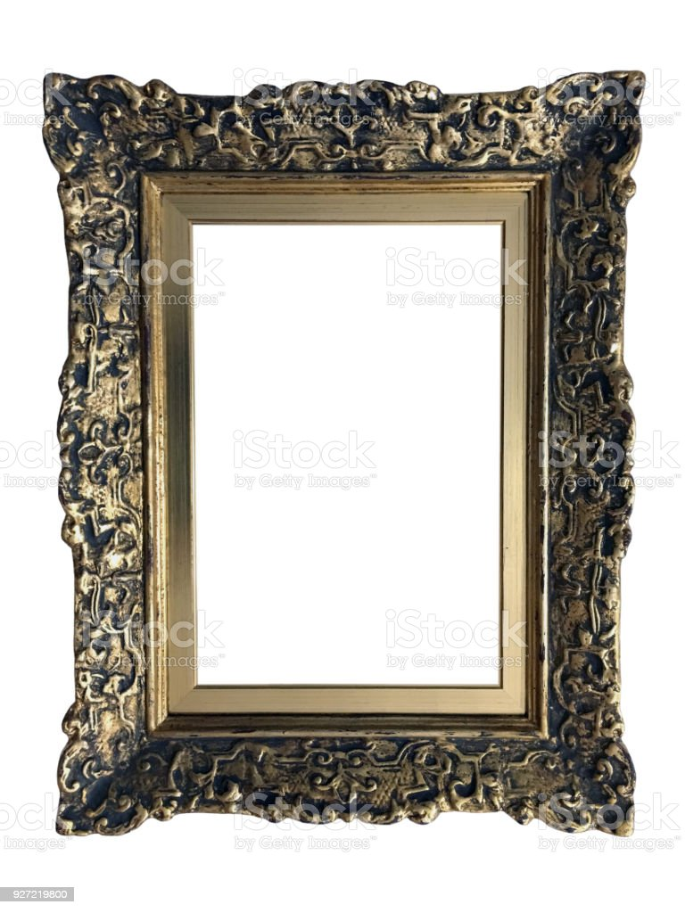 Empty Gold Ornate Picture Frame With White Background Stock Photo ...