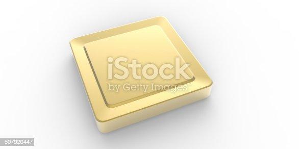 istock Empty gold square button 507920447