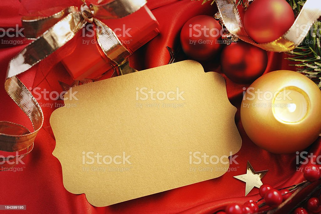 Empty golden christmas card with decoration royalty-free stock photo
