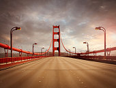 Golden Gate Bridge in San Francisco without traffic in sunset light