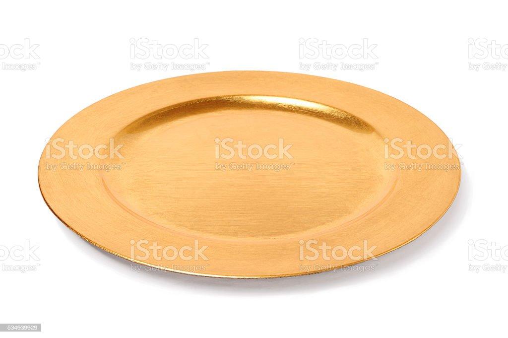 empty golden plate