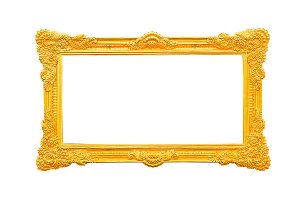 empty golden vintage frame isolated on white background - filigree stock photos and pictures