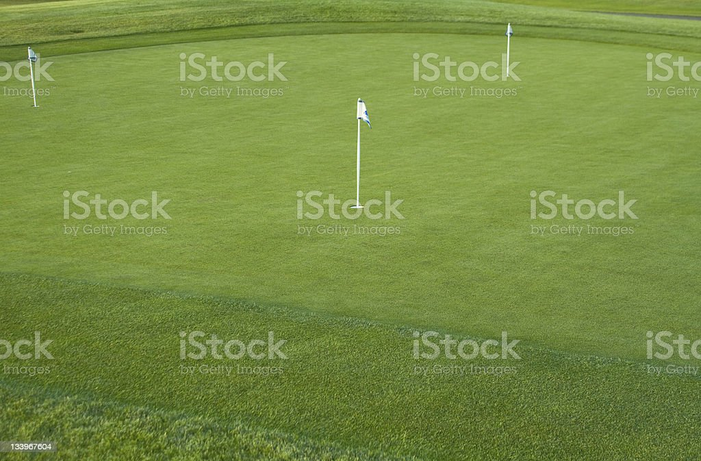 Empty golf practice putting green at dusk with first cut royalty-free stock photo