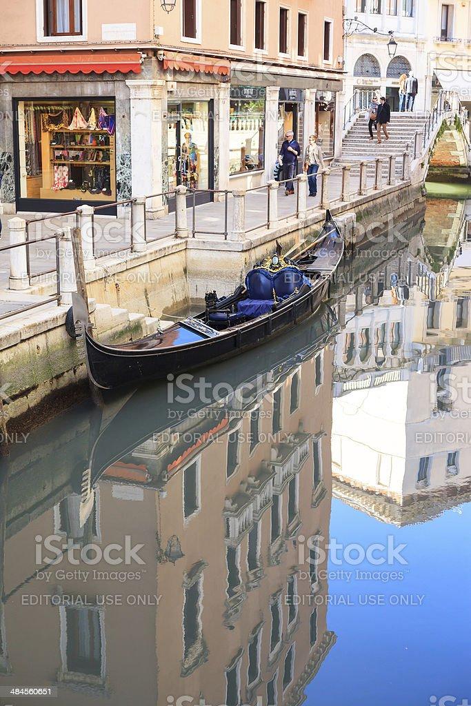 Empty Gondola on the Canals royalty-free stock photo