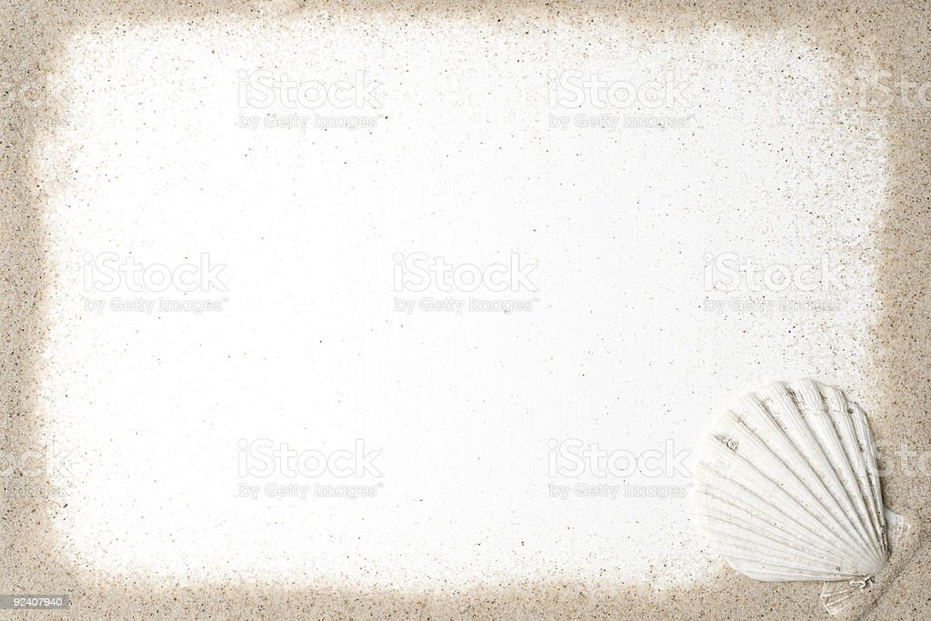 Empty graphic with sand border and a white seashell royalty-free stock photo