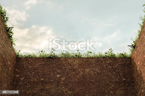 empty grave in the cemetery 3d illustration