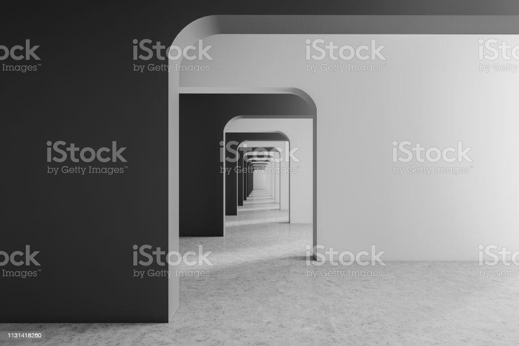 Photo libre de droit de Couloir Vide Gris Et Blanc banque d ...