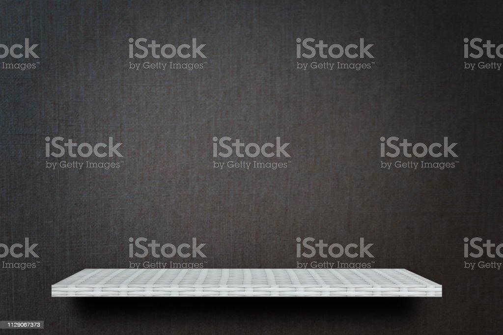 Empty Gray dark studio display table counter shelf background product...
